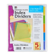 """Charles Leonard Dividers Plastic, Multicolor, 8 1/2 x 11"""", 12 Count of 5 Dividers Per Order (CHL48500ST)"""