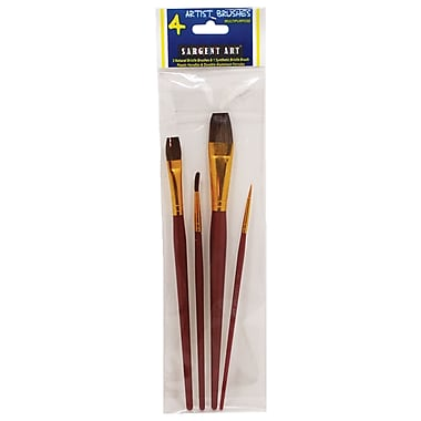 Sargent Art Mix Set Red Handles Ages 3+, 12 Count of 4 Brushes Per Order ( SAR566014)