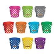 """Teacher Created Resources 6"""" Polka Dots Buckets, Assorted Colors (TCR5631)"""