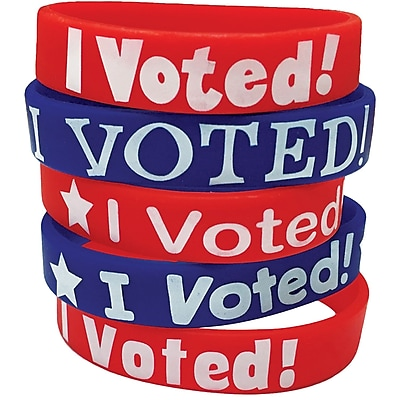 Teacher Created Resources I Voted! Wristbands Assorted 10 Wristbands Per Pack (TCR6576)