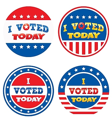Teacher Created Resources I Voted Today Wear'Em Badges Assorted Colors 32 Badges Per Pack (TCR5898)