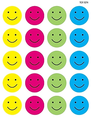 Teacher Created Resources Happy Faces Stickers Assorted Colors 120 Stickers Per Pack (TCR1274)