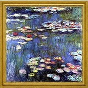 CanvasArtUSA 'Water-Lilies' by Claude Monet Framed Painting Print; 26'' H x 26'' W x 1.25'' D