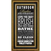 CanvasArtUSA 'Bathroom Rules' by Jim Baldwin Framed Textual Art; 28.5'' H x 16.5'' W x 1.25'' D