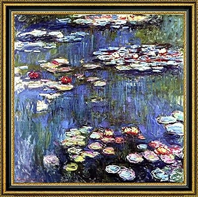 CanvasArtUSA 'Water-Lilies' by Claude Monet Framed Painting Print; 33.5'' H x 33.5'' W x 1.25'' D