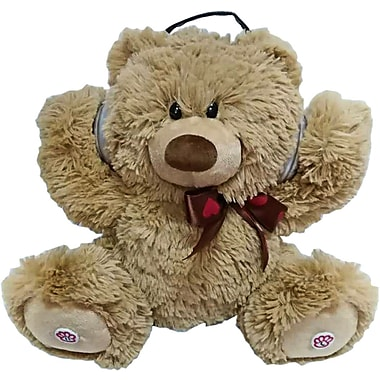 iTalk Adorable Dancing Teddy Bear Portable Plush Bluetooth Speaker, Brown (NTYD018BR)