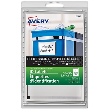 Avery® Grey Border Self-Laminating Labels, 3-3/4
