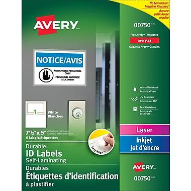 Avery® - Étiquettes à plastifier 00750 Easy Align, blanc, 7 1/2 po x 5 po, paq./5