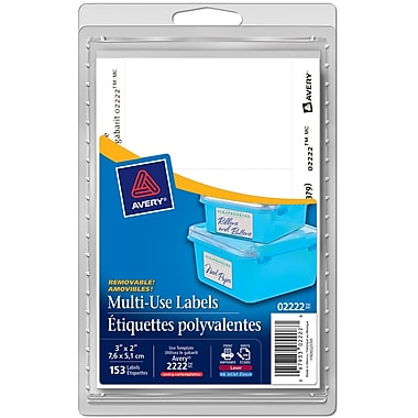 Avery® - Étiquettes blanches rectangulaires à usages multiples, nº 2222, 3 po x 2 po, paq./153