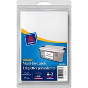"""Avery® White Print or Write Removable Rectangular Multiuse Labels, 6"""" x 4"""", 25/Pack, (02228)"""
