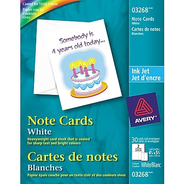 Avery® Note Cards, White, 4-1/4