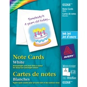 "Avery® Note Cards, White, 4-1/4"" x 5-1/2"", Inkjet, 30/Pack (03268)"