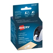 "Avery® Thermal Printer Address Labels, White, 3-1/2"" x 1-1/8"", 260/Pack (04150)"