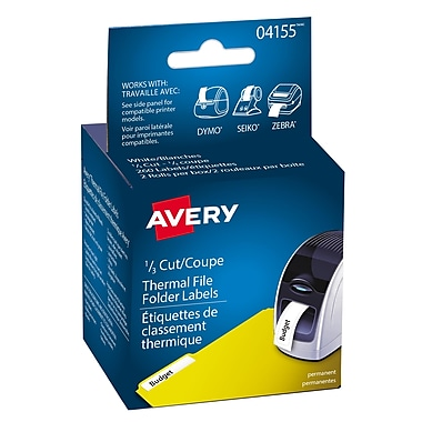 Avery® White Thermal File Folder Labels, 9/16