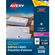 "Avery® Easy Peel® White Laser Address Labels, 2-5/8"" x 1"", 3,000/Pack, (5160)"
