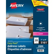 "Avery® Easy Peel® White Laser Address Labels, 4"" x 1"", 2,000/Pack, (5161)"