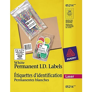 Avery® White Laser Permanent I.D. Labels, 1-1/2