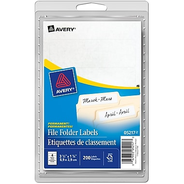 Avery® White File Folder Labels, 3-1/2