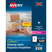 """Avery® White Laser Shipping Labels with TrueBlock, 8-1/2"""" x 11"""", 25/Pack, (5265)"""