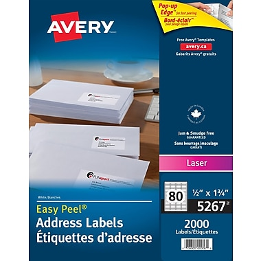 Avery® Easy Peel® White Laser Return Address Labels