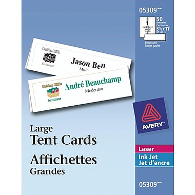 Avery® White Laser/Inkjet Printable Large Tent Cards, 3-1/2