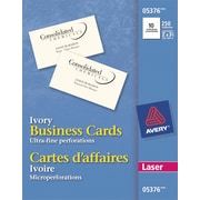 """Avery® Perforated Laser Business Cards, 3-1/2"""" x 2"""", Ivory, 250/Pack, (05376)"""