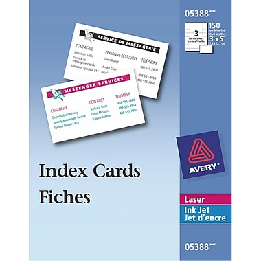 Avery® Laser & Inkjet Index Cards, White, 3