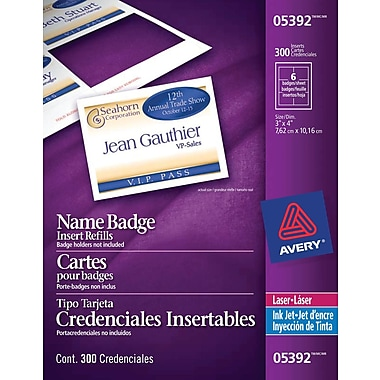Avery® White Laser/Inkjet Name Tag Insert Refill Cards, 4