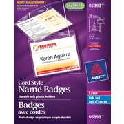 "Avery® Convention Style Laser/Inkjet Name Badge Kit, 4"" x 3"", 50/Pack, (05393)"