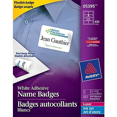 Avery self adhesive white laser inkjet name badge labels for Avery id badge template