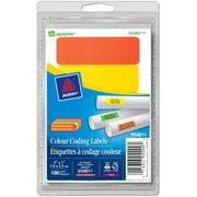"""Avery® Assorted Neon Print or Write Removable Colour Coding Labels, 1"""" x 3"""", 100/Pack, (05481)"""