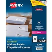 """Avery® Easy Peel® White Laser Address Labels, 4"""" x 1"""", 5,000/Pack, (5961)"""