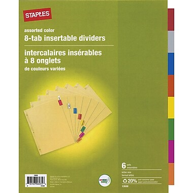 Staples® – Intercalaires insérables à 8 onglets, multicolore