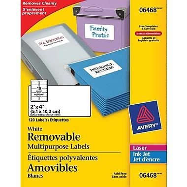 Avery® White Laser/Inkjet Removable Multipurpose Labels, 2