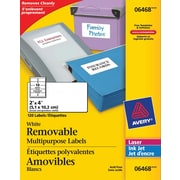 """Avery® 6468 Étiquettes polyvalentes, amovibles, blanches, laser/jet d'encre, 2"""" x 4"""", 120/pqt"""