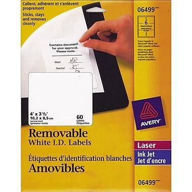Avery® 6499 Étiquettes d'adresse amovibles, blanches, laser/jet d'encre, 4