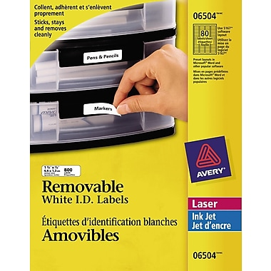Avery® 6504 Étiquettes d'identification amovibles blanches, laser, 1-3/4