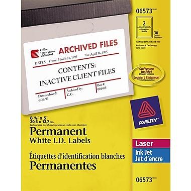Avery - Étiquettes permanentes pour identification, blanches, nº 6573, 5 po x 8 1/8 po, paq./30