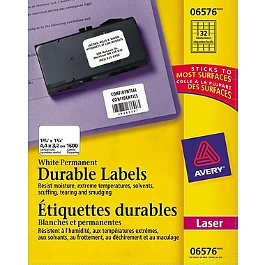 Avery® White Laser Durable I.D. Labels, 1-3/4