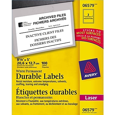 Avery® 6579 Étiquettes d'identification durables blanches, laser, 8-1/8