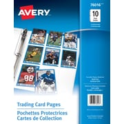 Avery® Trading Card Pages, Clear, 10/Pack, (76016)