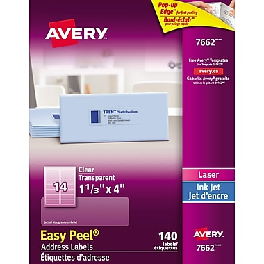 Avery® Easy Peel® Clear Glossy Laser/Inkjet Address Labels, 1-1/3
