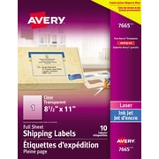 "Avery® Easy Peel® Clear Glossy Laser/Inkjet Shipping Labels, 8-1/2"" x 11"", 10/Pack, (7665)"