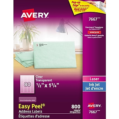 Avery® Easy Peel® Clear Glossy Laser/Inkjet Address Labels, 1/2