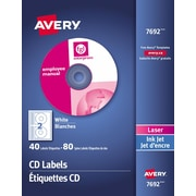Avery® White Laser/Inkjet CD Labels, 40/Pack (7692)