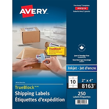 Avery® TrueBlock™ White Inkjet Shipping Labels, 4