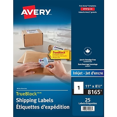 Avery® TrueBlock™ White Ink Jet Shipping Labels, 8-1/2