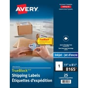 "Avery® TrueBlock™ White Ink Jet Shipping Labels, 8-1/2"" x 11"", 25/Pack, (8165)"