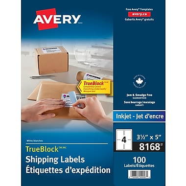 Avery® TrueBlock™ White Inkjet Shipping Labels, 5