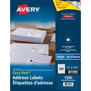 """Avery® Easy Peel® White Inkjet Return Address Labels, 1-3/4"""" x 2/3"""", 1,500/Pack, (8195)"""
